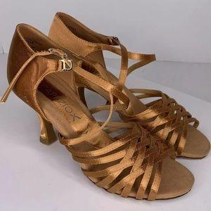 Capezio Latin X-Strap Copper Satin Ballroom Shoes